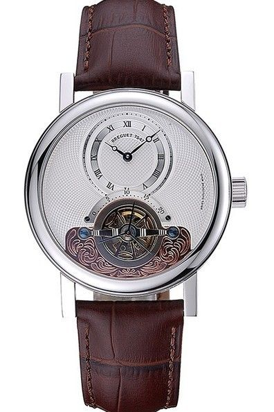 mens tourbillon white dial silver case imitation watch